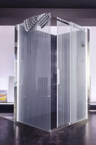 box doccia con vetro decorato